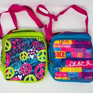 New Insulated Lunch Bags 3C4G Peace Blue Green